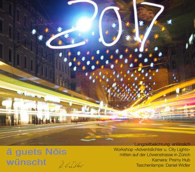 Lichtmalerei fuer Neujahrskarte