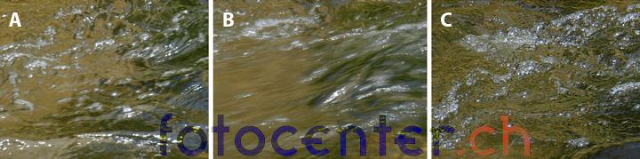 Fliessend-Wasser- fotografieren Vergleich